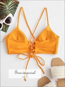Rope Strap Lace up Plain Bikini top SUN-IMPERIAL United States