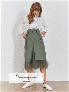 Rory Skirt - Mesh High Waist Split Midi Patchwork Skirts, Skirts For Women, Spring 2019, Streetwear, Vintage SUN-IMPERIAL United States