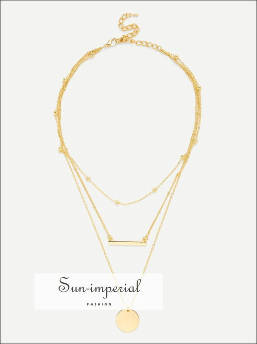 Round & Bar Pendant Link Necklace Casual, Gold, No Stone, Necklaces, SUN-IMPERIAL United States
