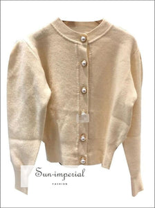 Round Collar Sweater Pearl Buckle Sweater Open Bubble Sleeve Woman V-neck Cardigans