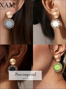Round Dangle Drop Korean Earrings for Women Geometric Sequin Gold Earring Wedding Jewelry SUN-IMPERIAL United States