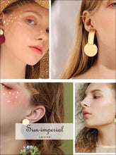 Round Dangle Drop Korean Earrings for Women Geometric Round Sequin Gold Earring Wedding jewelry SUN-IMPERIAL United States
