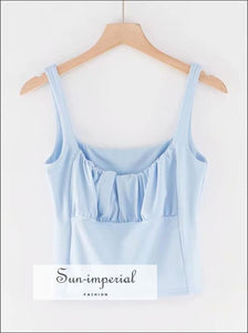Ruched Bust Cami Short Tank top - Blue