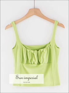 Ruched Bust Cami Short Tank top - Green