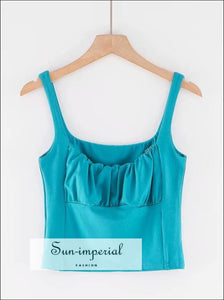 Ruched Bust Cami Short Tank top - Turquoise