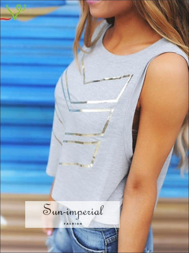 Running Letter Print T-Shirt Women Summer Blouse Printing Sleeveless top activewear SUN-IMPERIAL United States