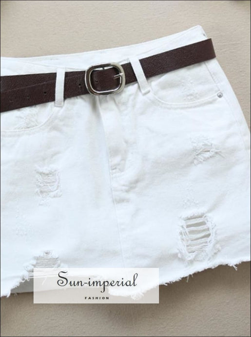 S- 2xl Black/white Ripped Denim Skirt Slim Jeans Mini Skirt