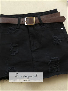 S- 2XL BLACK/WHITE ripped Denim skirt Slim jeans mini skirt BASIC SUN-IMPERIAL United States