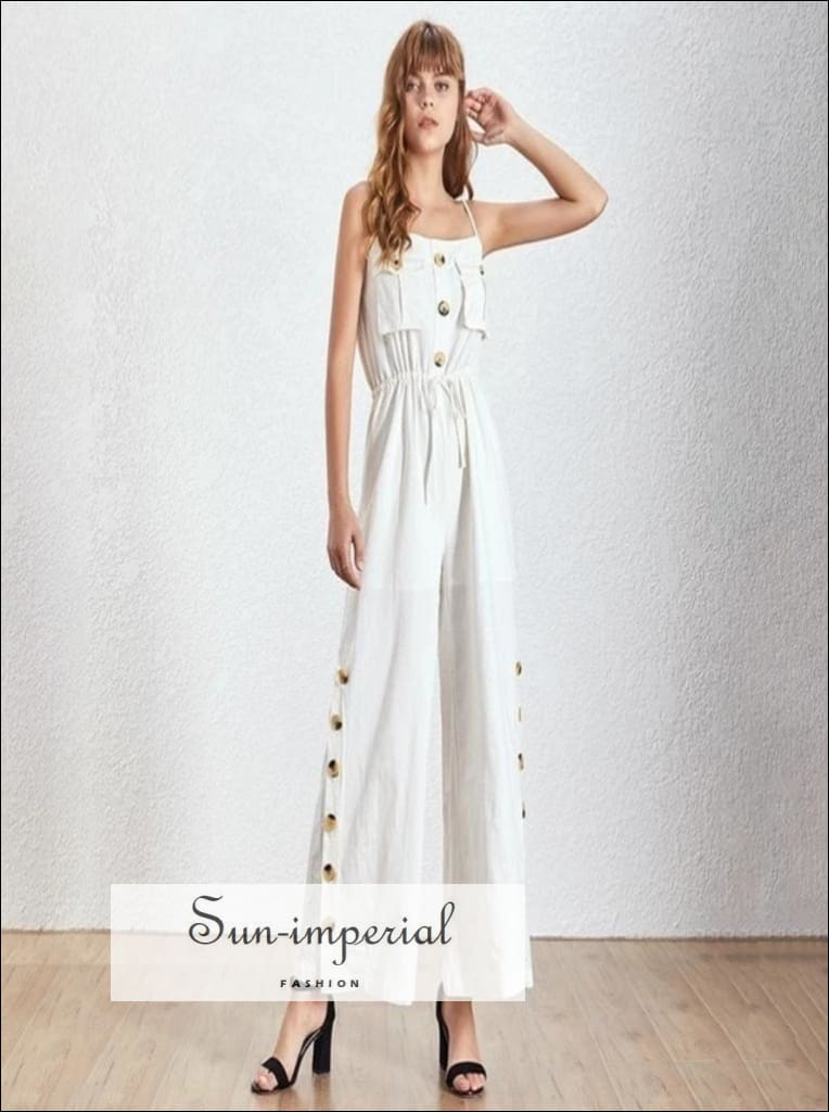 Sabotage Jumpsuit - Vintage Solid Button down Black and white Women Jumpsuit Sleeveless High Waist Wide Leg Pants Off Shoulder Solid Button