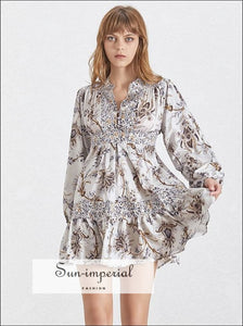 Saint-Denis Dress - Vintage A Line floral Dress Lantern Long Sleeve V Neck mini dress High Waist Lantern Long Sleeve Slim Summer Print