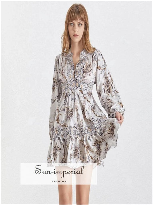 Saint-Denis Dress - Vintage A Line floral Dress Lantern Long Sleeve V Neck mini dress High Waist Lantern Long Sleeve Slim Summer Print V