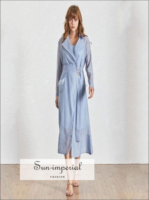 Salt Lake Dress- Long Sleeve maxi coat sheer dress kimono style with mini attached Dress For Feather Patchwork, High Waist, Lapel Collar,