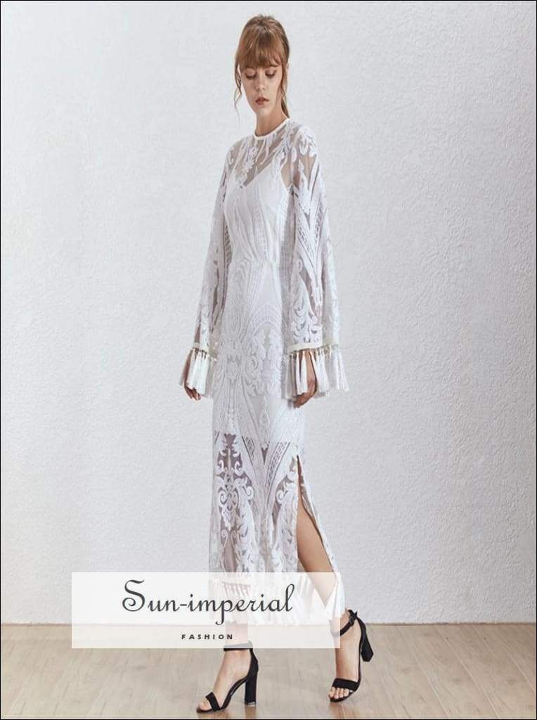 Sam Dress - Vintage White Lace Maxi 2 Layers Sheer Embroidery Dress O Neck Flare Long Sleeve
