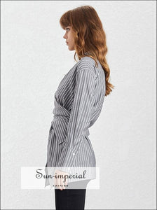 Samantha top - Vintage Women Long Sleeve Shirt Asymmetrical Casual Striped Blouse Blouse, Sleeve, Stand Collar, vintage, Women's