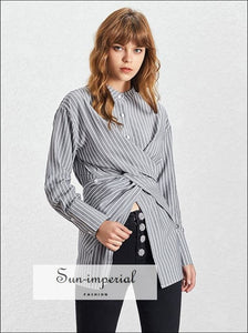 Samantha Top - Vintage women Long Sleeve Shirt asymmetrical Casual Striped Blouse Casual Striped Blouse Long Sleeve Stand Collar vintage