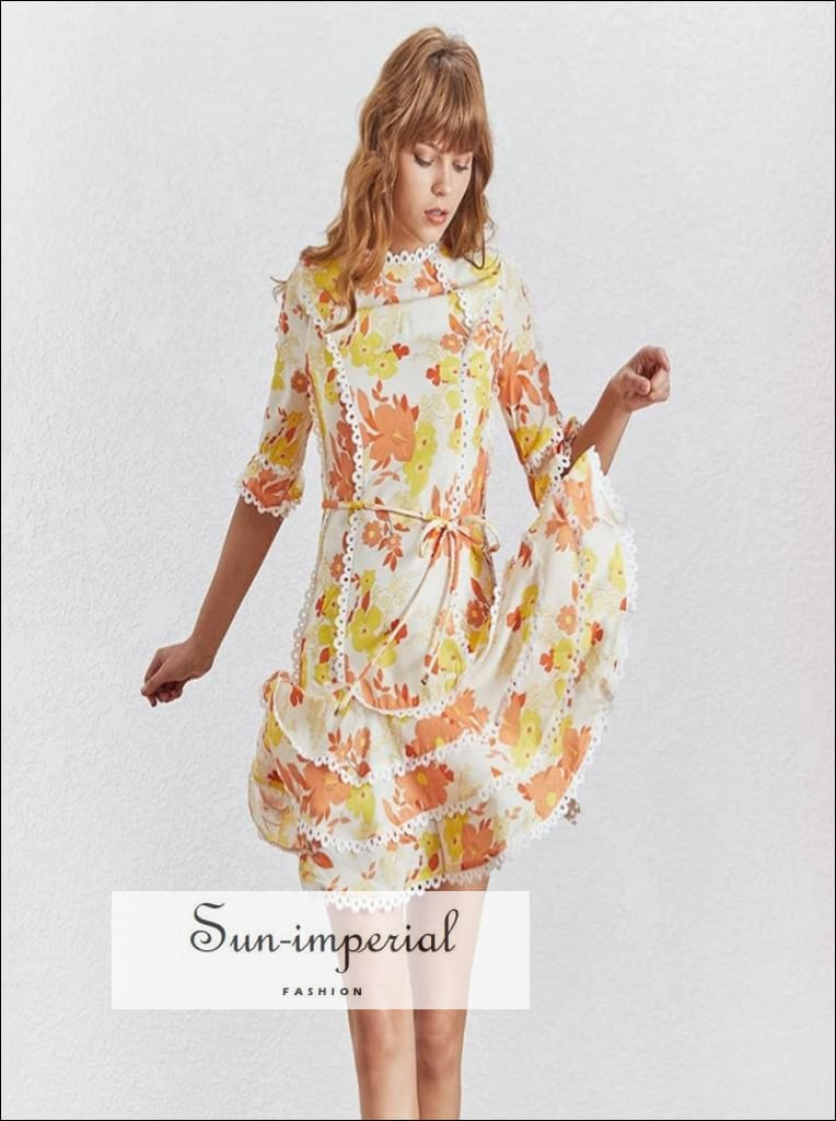 San Francisco Dress- Vintage Yellow floral Print A - line high neck 3/4 sleeve tie waist lace ruffles mini Dress Half Sleeve High Waist O