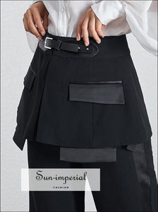 Sasha Pants - Women Casual Solid High Waist Trousers Wide Leg Work Wear Big Size, Waist, Sashes Patchwork, Trousers, vintage SUN-IMPERIAL