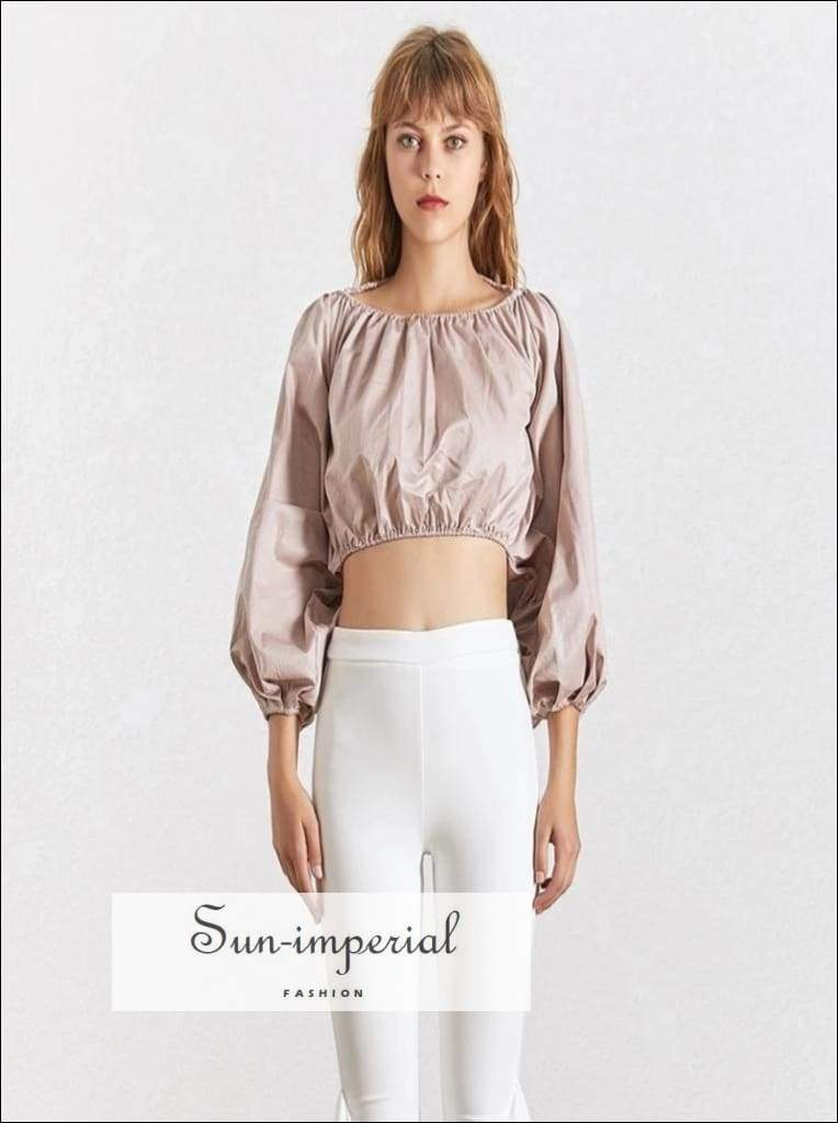 Satin Backless Crop top Long Sleeve Blouse Lantern Puffed Sleeve