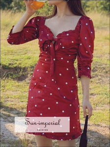 Satin Red White Dot Mini Dress Sweetheart Neck Tie Ruffle Edge