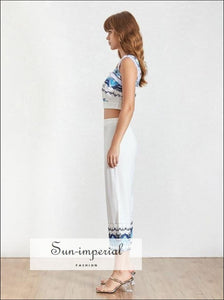 Sawyer Pants Set -women Vintage White Floral Print Two Piece Pant Set Square Neck Sleeveless top 3/4