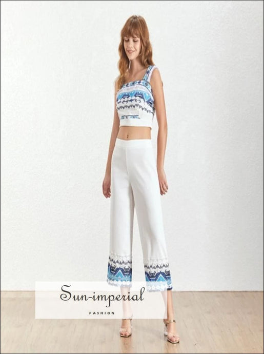 Sun-Imperial Sawyer Pants Set -women Vintage White Floral Print Two Piece Pant Set Square Neck Sleeveless top 3/4