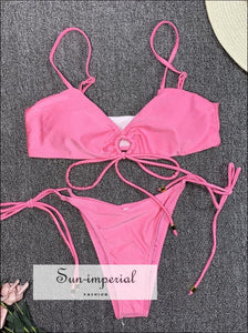 Scalloped String Bikini Swimsuit - Pink SUN-IMPERIAL United States