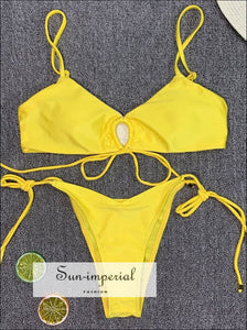 Scalloped String Bikini Swimsuit - Yellow SUN-IMPERIAL United States
