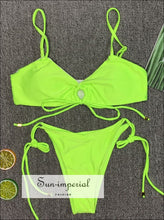 Scalloped String Bikini Swimsuit - Yellow