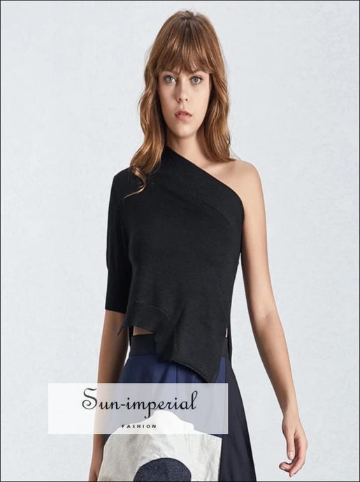 Scarlett top - Solid Black and White Asymmetrical off Shoulder Women's T Shirt Off Shoulder, Collar, Summer Slim Clothing, vintage,