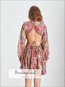 Seattle Dress - Burgundy Vintage Backless Floral Print Women Mini Dress Long Sleeve