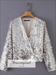 Sequin wrap blouse SUN-IMPERIAL United States