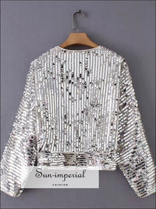 Sequin Wrap Blouse