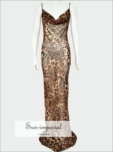 Sheer Cami Strap Leopard Print Backless Maxi Dress