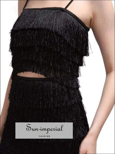 Siena Skirt Set - Two Piece off Shoulder Sleeveless Crop Tops High Waist Dress Off Shoulder, Sexy Tassel, Tops, Set, vintage SUN-IMPERIAL