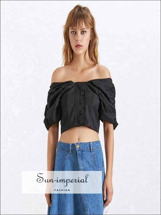 Sierra top - Black Women Shirt Square Collar Puff Sleeve Button Slim Crop top Blouse