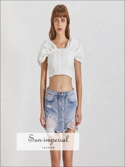 Sierra top - White Women Shirt Square Collar Puff Sleeve Button Slim Crop top Blouse