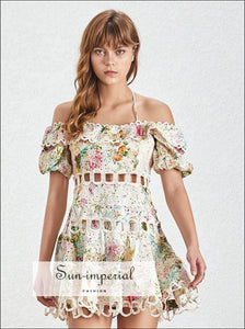 Siesta Dress -women's Vintage off Shoulder Halter a Line Lace Floral Print Puff Short Sleeve High Waist, Off Shoulder, Sleeve, vintage,