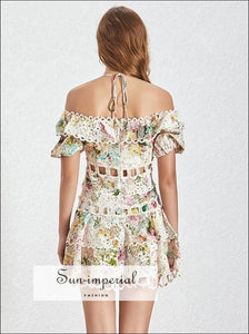 Siesta Dress -women's Vintage off Shoulder Halter a Line Lace Floral Print Dress Puff Short Sleeve