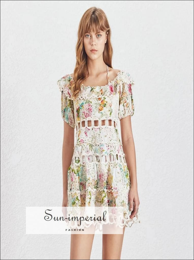 Siesta dress -Womens Vintage Off Shoulder halter A Line lace floral Print Dress Puff short Sleeve High Waist Off Shoulder Puff Sleeve