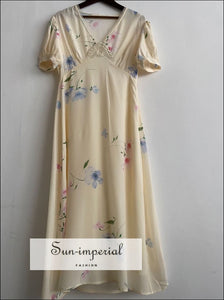 Silk Cream Floral Print V Neck Sort Puff Sleeve Midi Dress with Lace detail elegant style, silk dress, Unique vintage style SUN-IMPERIAL
