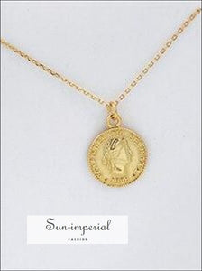 Silver and Gold Coin Round Pendant Necklaces