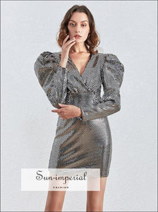 Silver Sequined Puff Long Sleeve Mini Dress Wrap V Neck Bodycon Party chick sexy style, elegant party dress, Unique style SUN-IMPERIAL