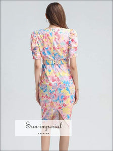 Silvia Dress in Pink - Vintage Floral Elegant Midi Wrap V Neck Short Puff Sleeve Slim Cut Beach Style Print, casual style, elegant Unique