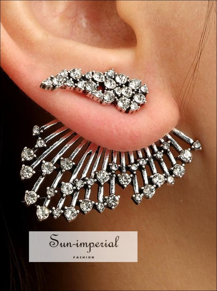 Single Rhinestone Stud Earrings Asymmetrical Multilayer Luxe Jewelry