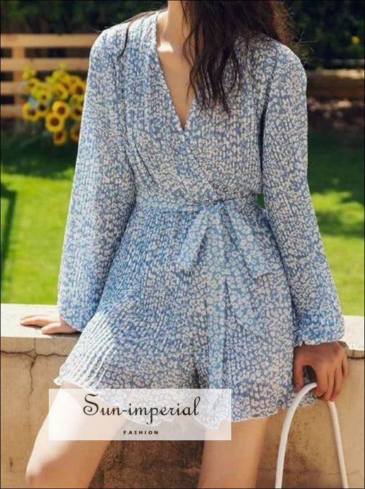 Sky Blue Floral Print Women Short Wrap Long Sleeve Jumpsuit V-neck Backless Lantern Romper casual style, chick sexy floral long sleeve