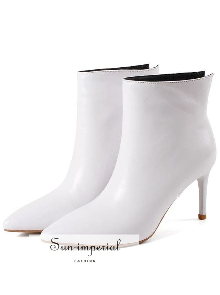 Slip on Toe Pointed High Heels Genuine Cow Leather Ankle Boots White and Black Size Us4-us12 Ankle, Elegant, Faux Leather, Heel, Point