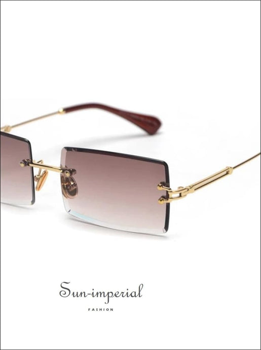 Small rectangle women sunglasses rimless square sun glasses green brown SUN-IMPERIAL United States