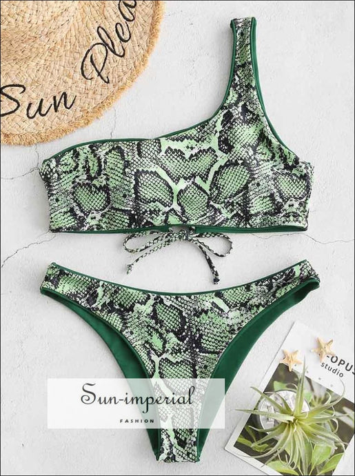 Snakeskin Leopard One Shoulder Reversible Bikini Set - Forest Green