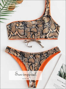 Snakeskin Leopard One Shoulder Reversible Bikini Set - Mango Orange