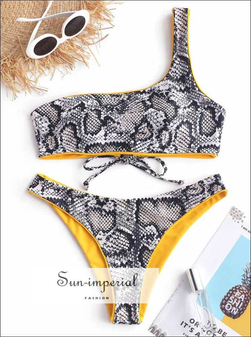 Snakeskin Leopard One Shoulder Reversible Bikini Set - Mustard